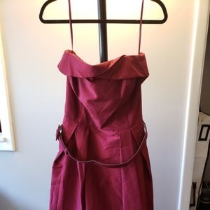 White House Black Market cranberry strapless dress